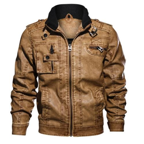 Men's Casual Leather Jacket PU Motocycle