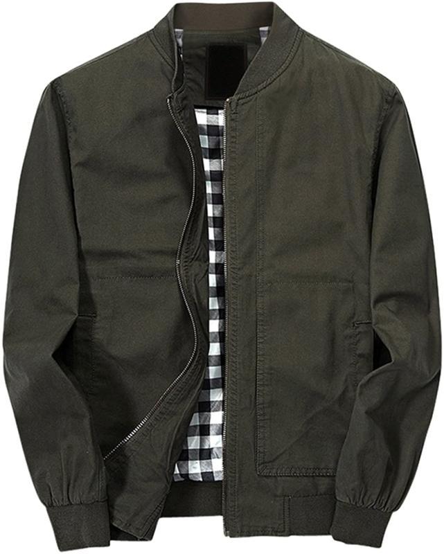 Chouyatou Men'S Classic Fit Cotton Lightweight Bomber Jacket
