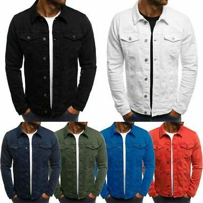 Men's Denim Jean Jacket Coat Pocket Casual Long Sleeve Slim