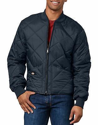 men s diamond quilted nylon jacket dark