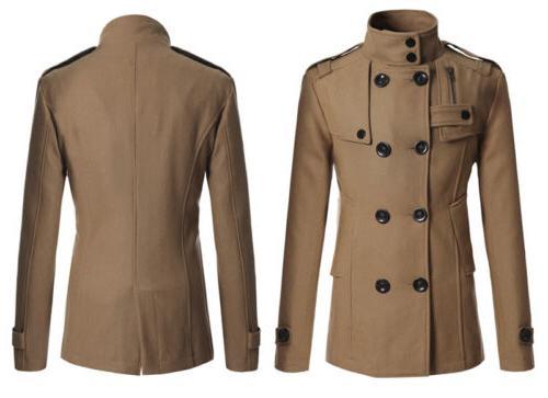 Men Double Trench Coat Winter Jacket Formal