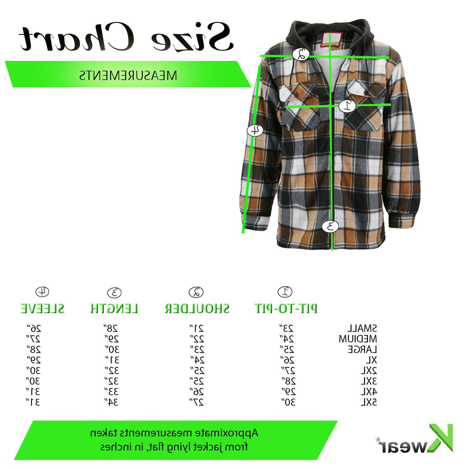 Men's Sherpa Hoodie Plaid Jacket