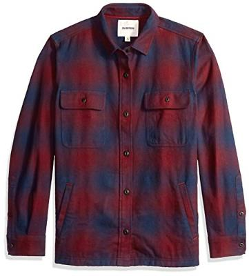 Goodthreads Men's Heavyweight Flannel Shirt Jacket, red Buff