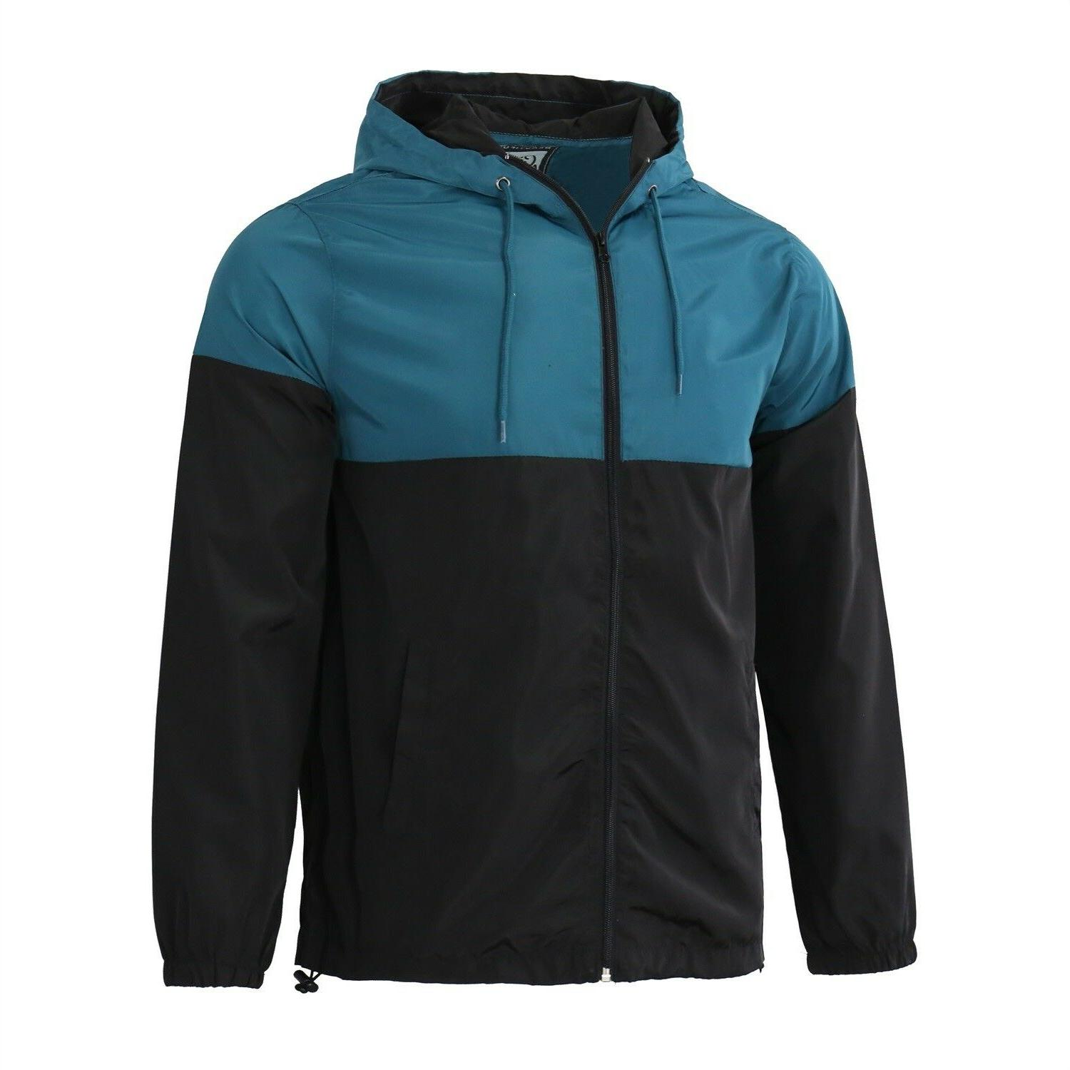 Men's Hooded Lightweight Windproof Outdoor Teal Black