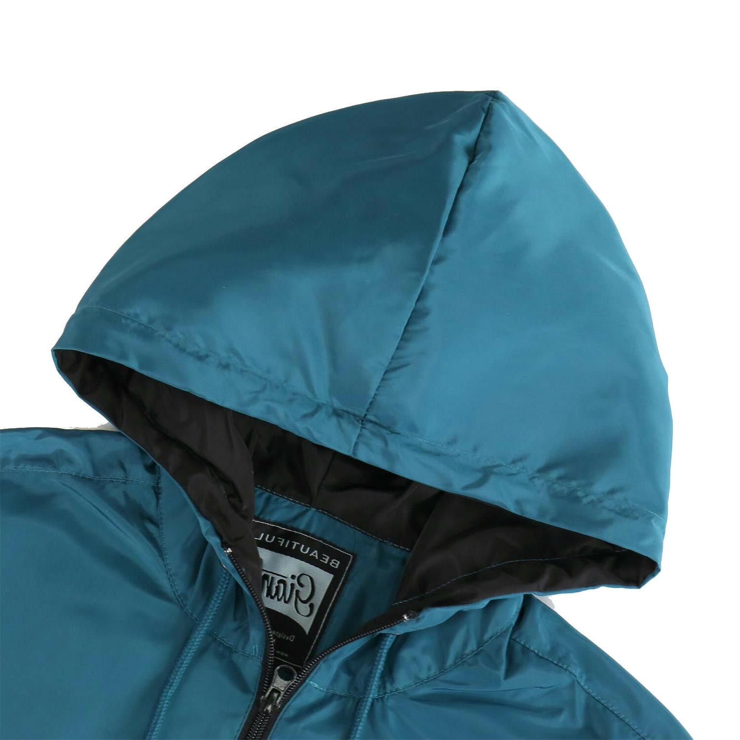 Men's Hooded Lightweight Windproof Rain Jacket Teal Black