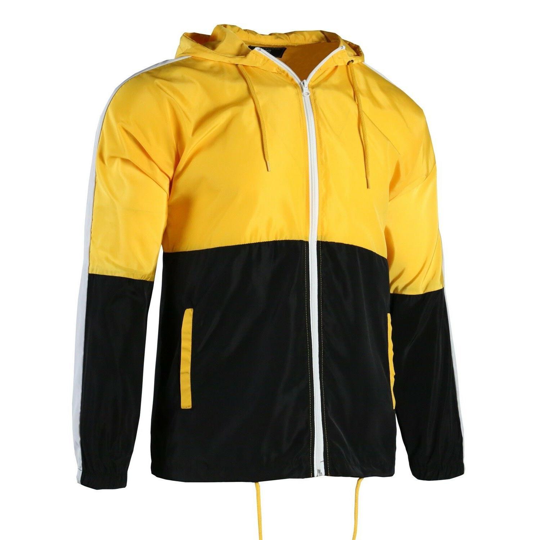 Men's Hooded Lightweight Windbreaker Zip up Sportswear Jacke