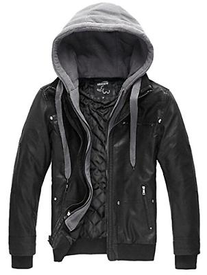 men s leather jacket with removable hood