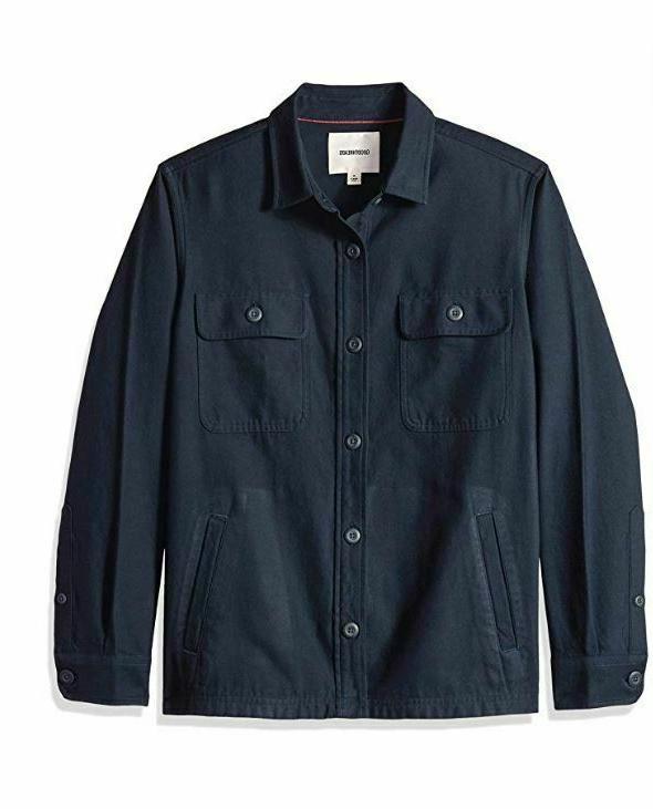 Goodthreads Men's Military Broken Twill Shirt Jacket Navy Bl