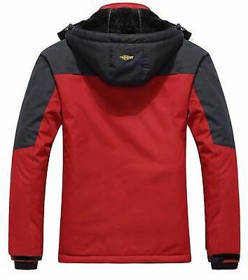 Wantdo Men's Mountain Waterproof Fleece Ski Windproof Rain Jacket,Red,2XL