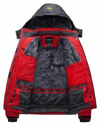 Wantdo Men's Mountain Waterproof Fleece Ski Jacket Windproof Rain