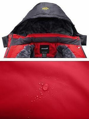 Wantdo Men's Mountain Fleece Ski Windproof Rain Jacket,Red,2XL