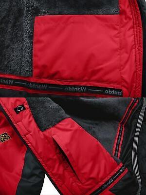 Wantdo Mountain Fleece Ski Jacket Rain Jacket,Red,2XL