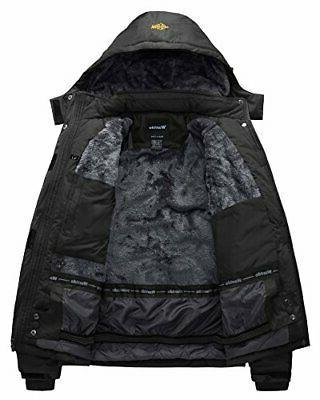 Wantdo Men's Mountain Ski Jacket Rain Jacket Black