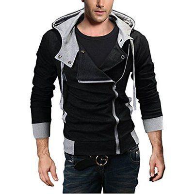 men s oblique zipper hoodie casual top