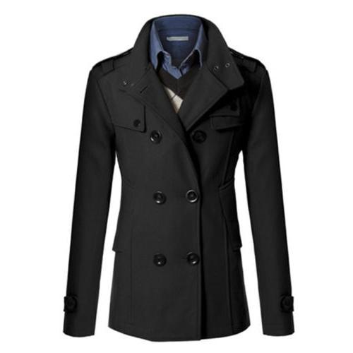 Men Double Formal Overcoat