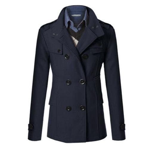Men Breasted Coat Winter Outwear Jacket Formal