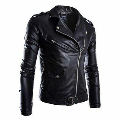 Men's PU Warm Jacket Coat Fashion Motorcycle Windproof