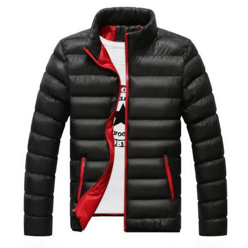 Men's Winter Jackets Ski Puffer Zipper Jacket Tops Outerwear
