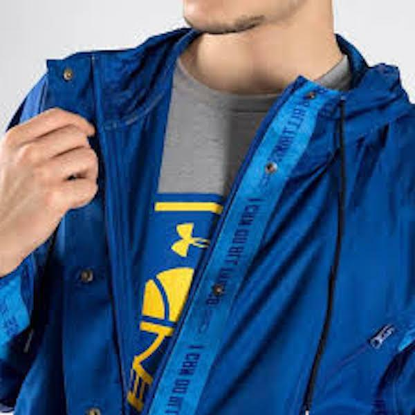 MEN UNDER SC30 CURRY LOOSE ZIP HOODED JACKET BLUE XL NWT