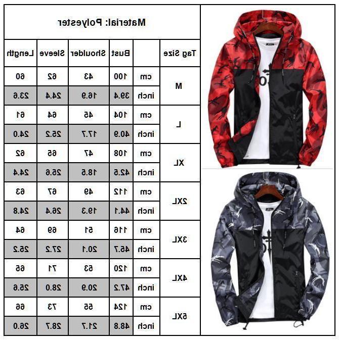 Men Camo Windbreaker Hoodie Jacket Outwear New