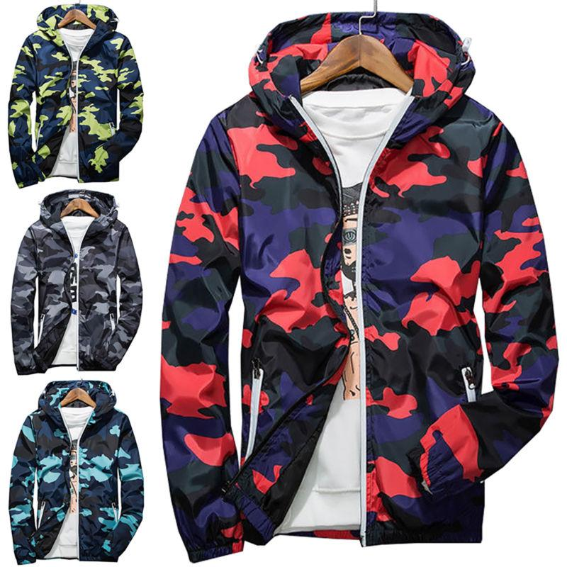 Men Waterproof Camo Hoodie Jacket Outwear New