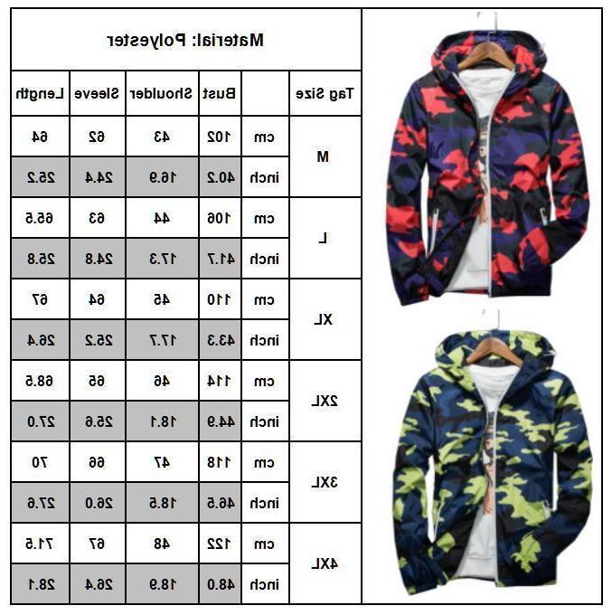 Men Hoodie Hooded Zip Jacket Outwear
