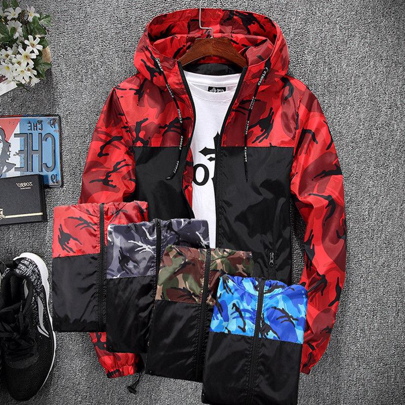 Men Waterproof Windbreaker Hoodie Zip Jacket New