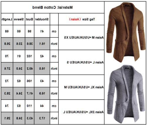Men Slim Cardigan Trench Coat Jacket Suit