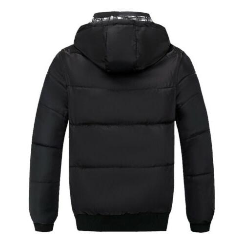 Men Winter Warm Hooded Thick Zipper Parka Outwear