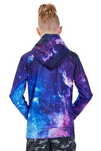 Uideazone Printed Space Jacket Coat Casual Hoodie Sweatshirt Pockets
