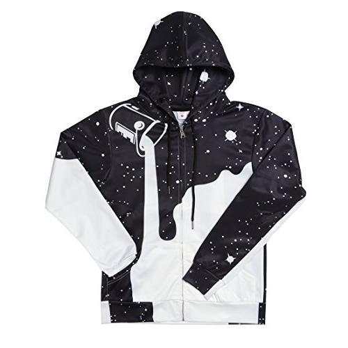 Uideazone Men Galaxy Zip Jacket Graphic Sweatshirts