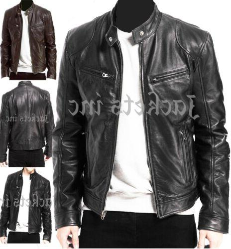 mens black and brown real leather jacket