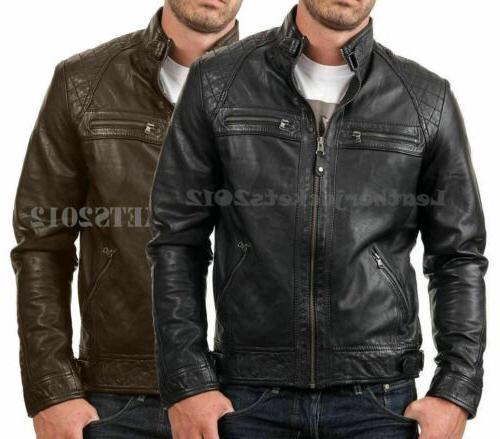 mens black leather jacket genuine sheep leather