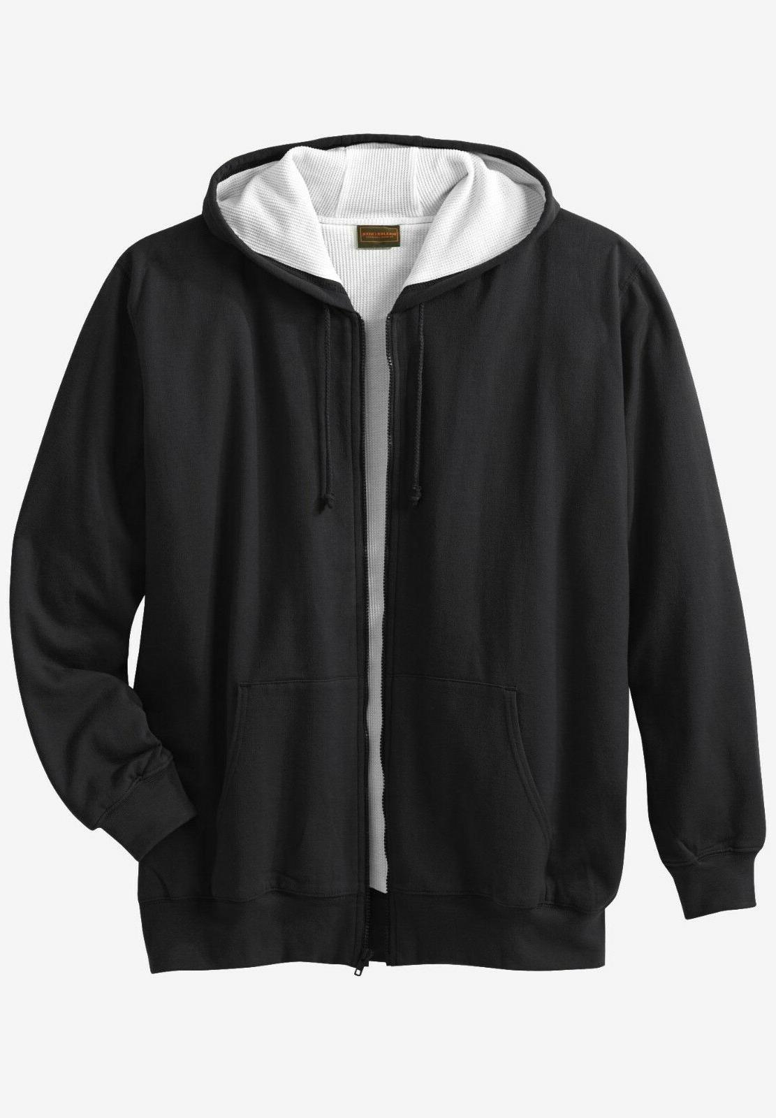 mens black or blue thermal lined hoodie