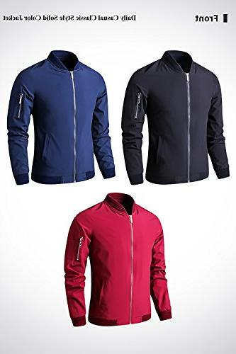 LTIFONE Zip Up Lightweight Bomber Flight Softshell with Ribbing Edge