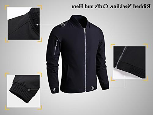 LTIFONE Mens Casual Zip Up Flight Sportswear Softshell