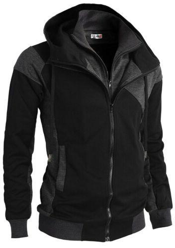 mens casual slim fit hoodie jacket dual