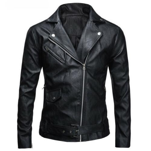Mens Leather Slim Motorcycle Winter