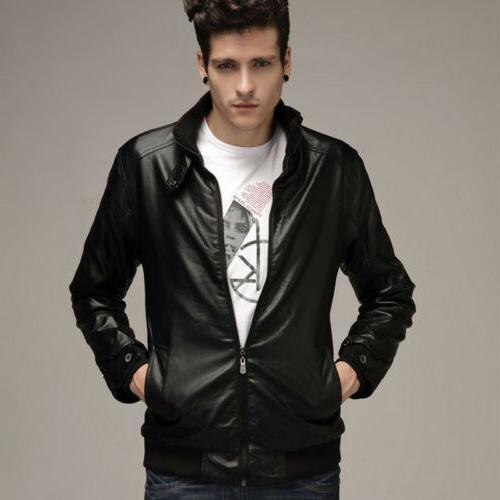 Mens Faux Slim Biker Motorcycle Jacket Winter Coat