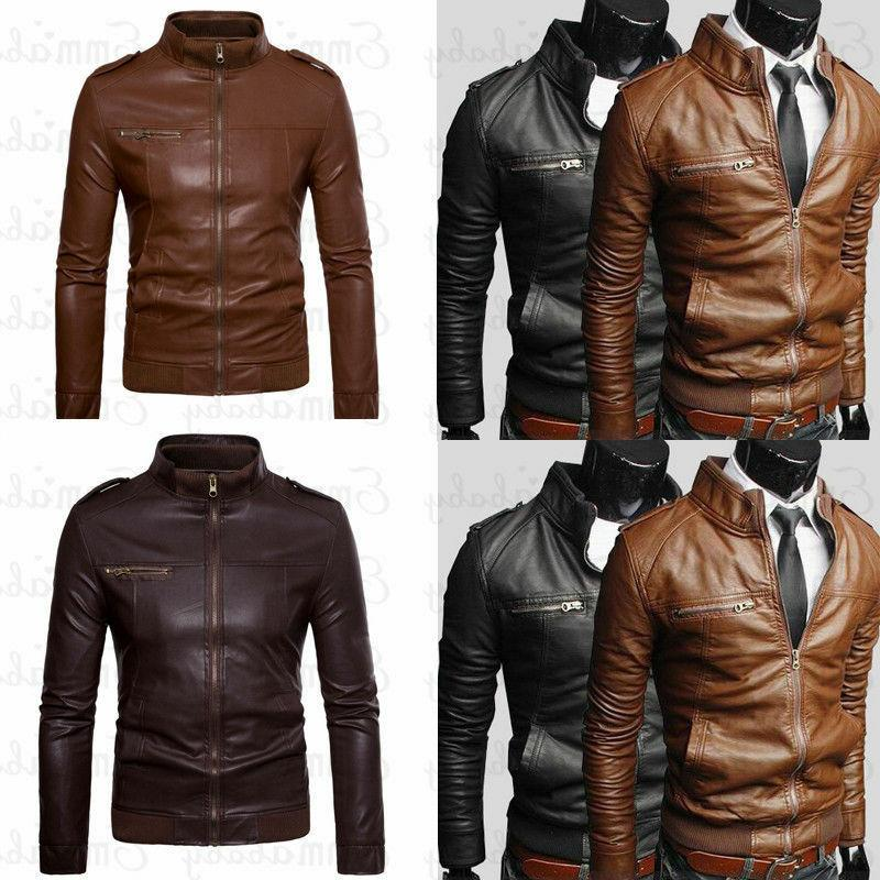 mens faux leather jackets slim biker motorcycle