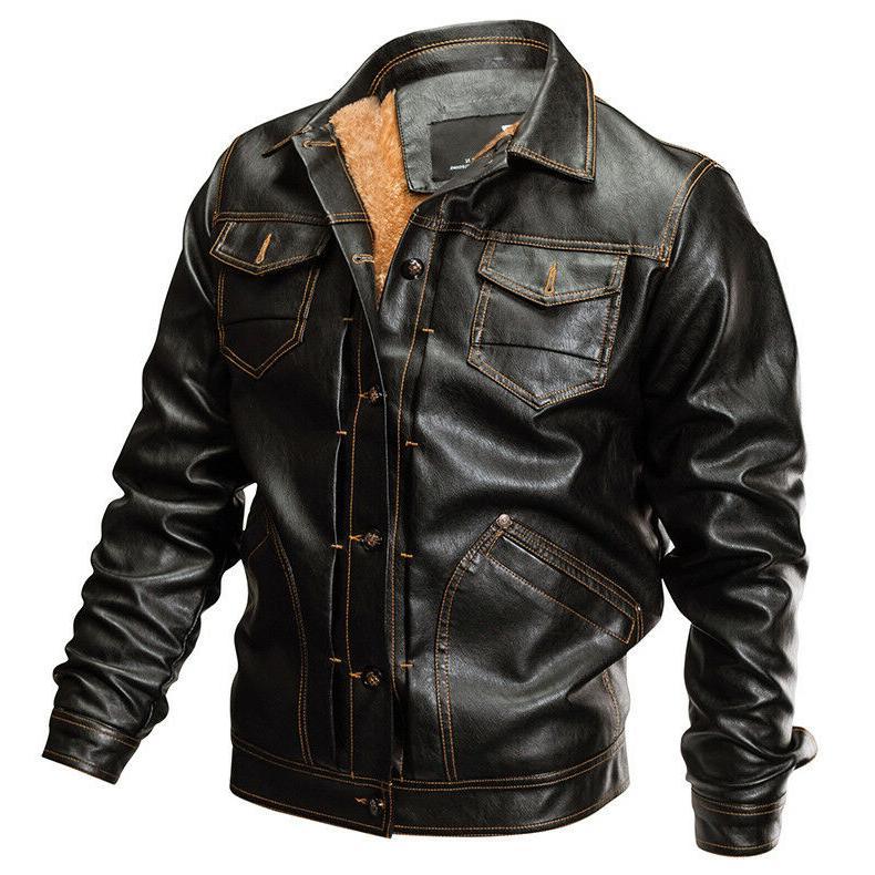TACVASEN Mens Fleece PU Motorcycle Coats