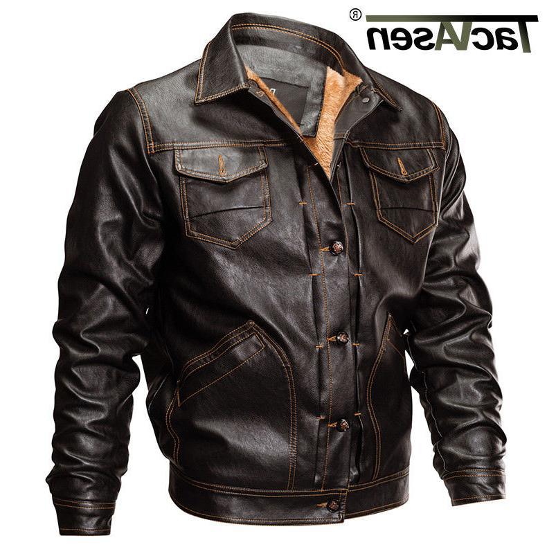 mens fleece lining pu leather jacket winter