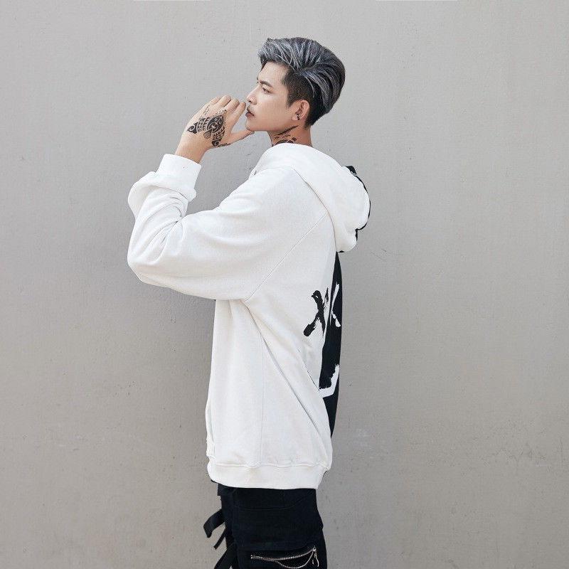 Mens Hooded Face Fashion Print Hoodie Sweatshirt Pullover
