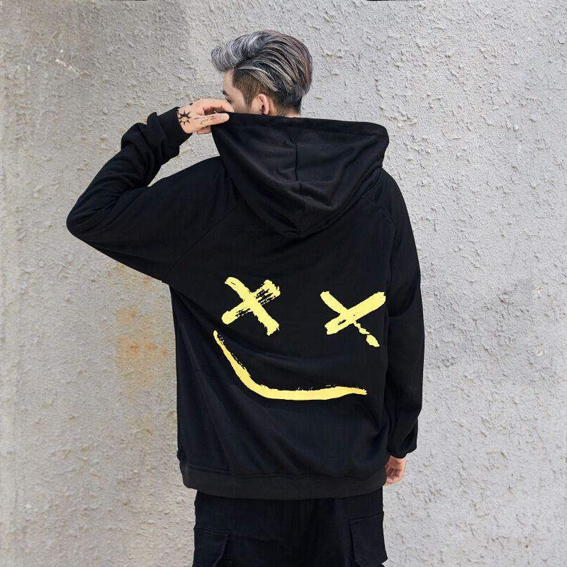 Mens Hooded Smiling Face Sweatshirt Pullover