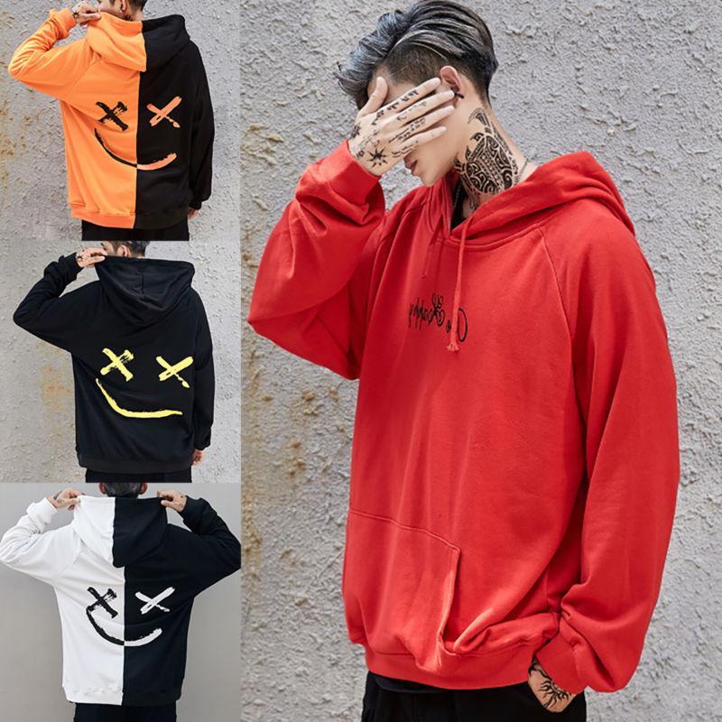 mens hooded hoodies smiling face fashion print