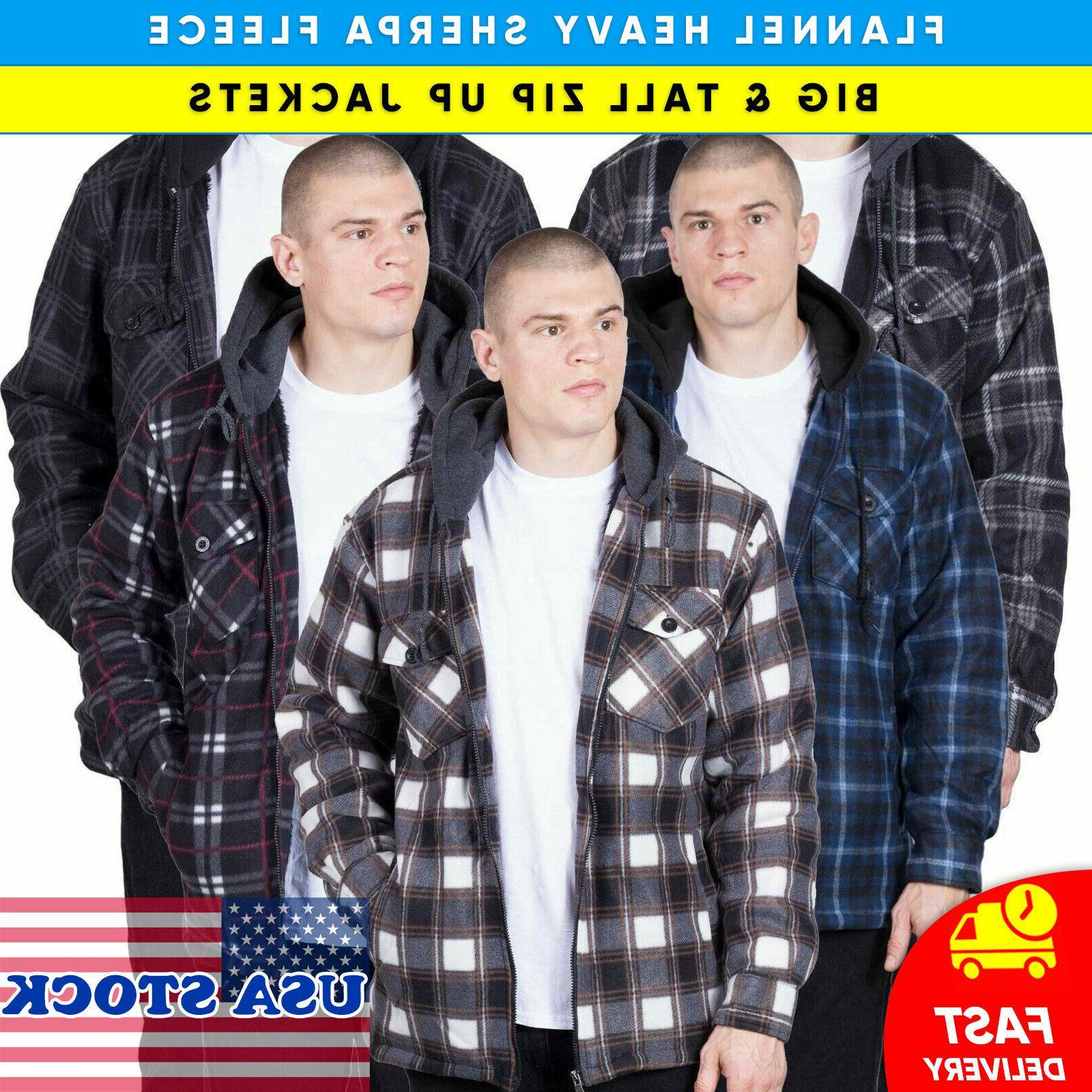 mens hoodie flannel shirt jacket heavy fleece