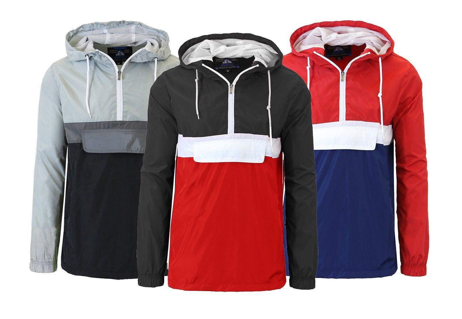 Mens Lightweight Windbreaker Jackets Pullover Zipper Pockets
