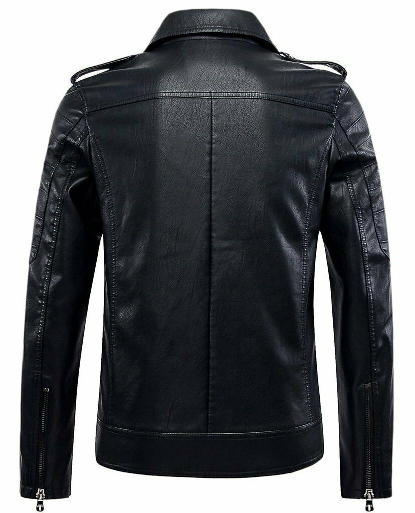 Chouyatou Mens Zip Lightweight Faux Biker Jacket