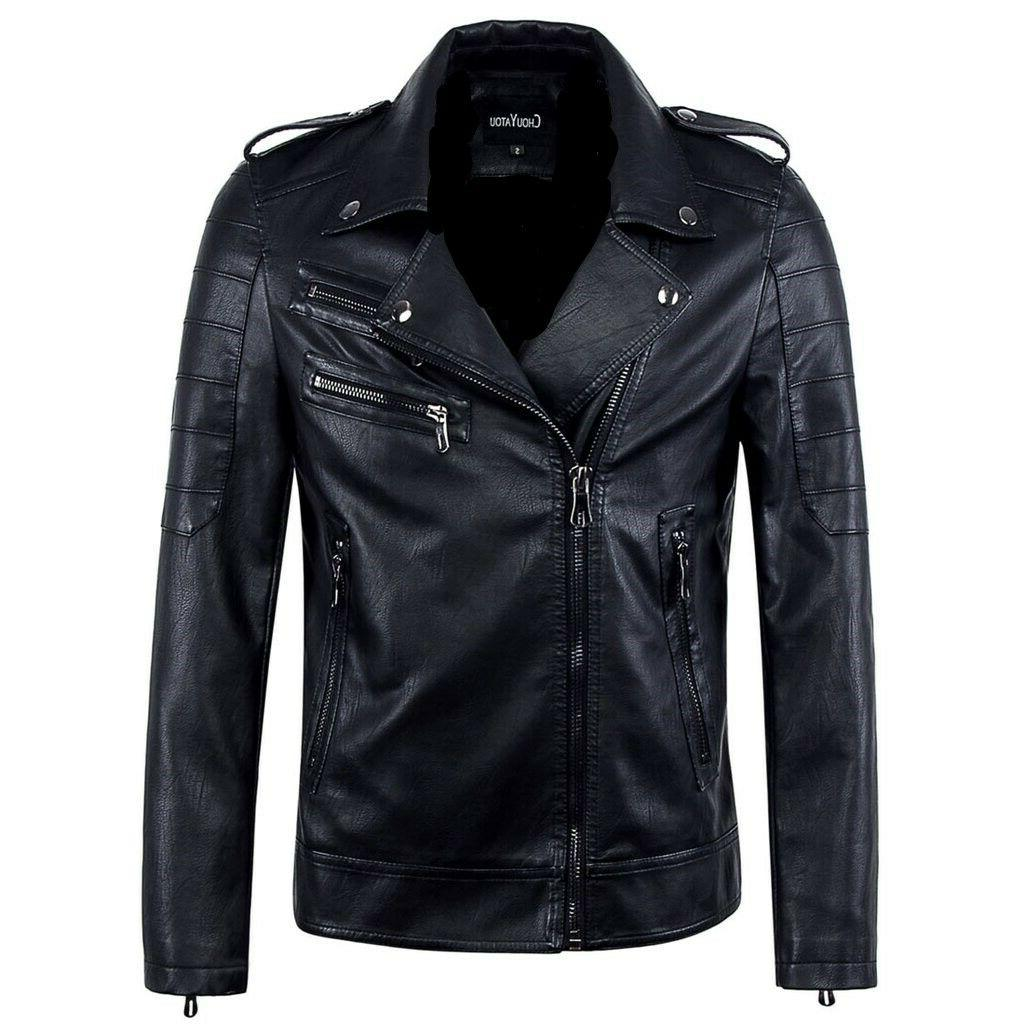 mens vintage asymmetric zip lightweight faux leather
