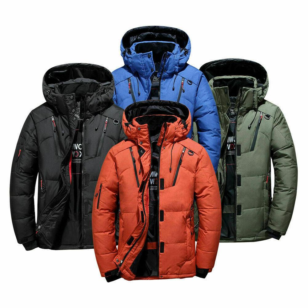Mens Winter Warm Duck Down Jacket Snow Thick Hooded Coat